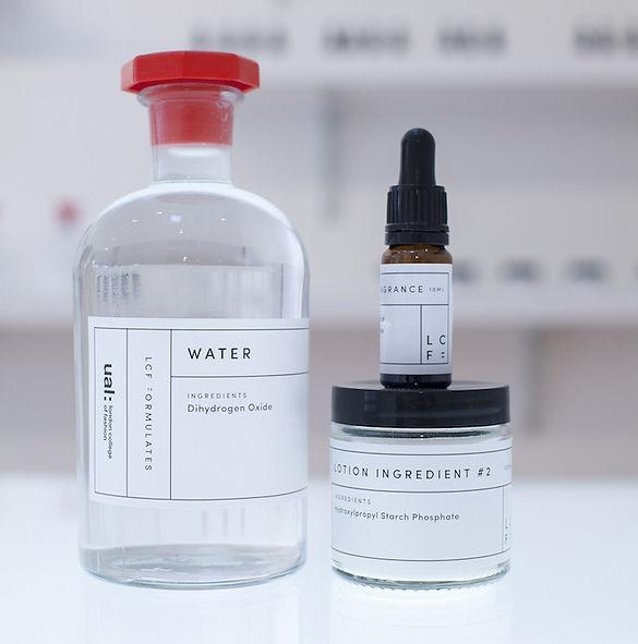 Minimalist designed laboratory bottles and jars
