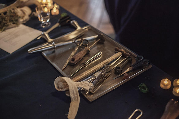 Tray of surgical implements for mummy unwapping event
