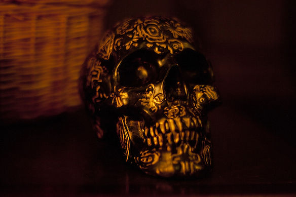 Gold and black painted skull prop