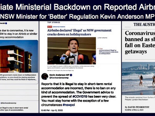 IMMEDIATE NSW MINISTERIAL BACKDOWN OF REPORTED AIRBNB BAN