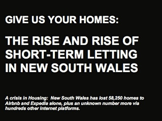 Give Us Your Homes: The Rise and Rise of Short-Term Letting in New South Wales