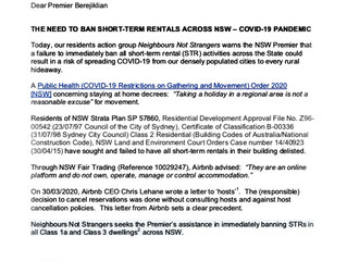 LETTER TO NSW PREMIER - THE NEED TO BAN SHORT-TERM RENTALS ACROSS NSW – COVID-19