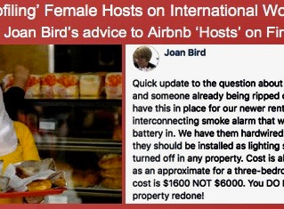 AIRBNB PROFILING FEMALE HOSTS and  QUESTIONABLE FIRE SAFETY ADVICE