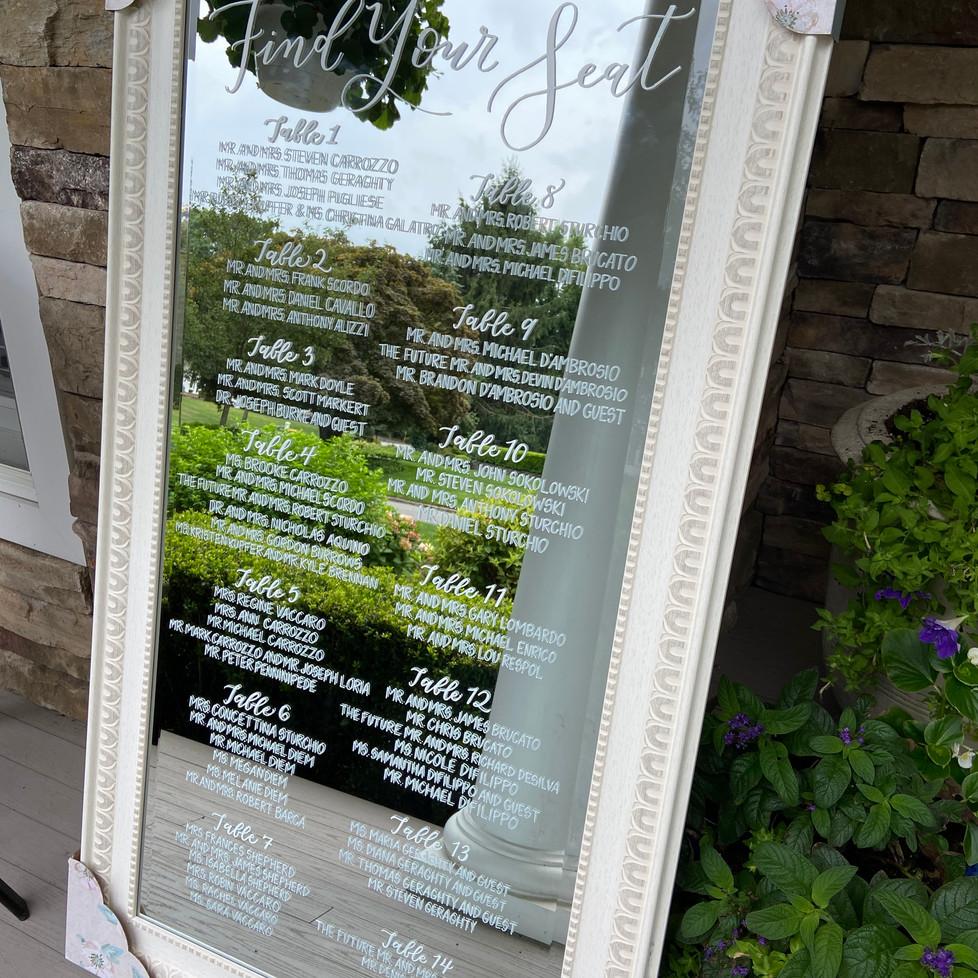 Wedding Mirror Seating Sign