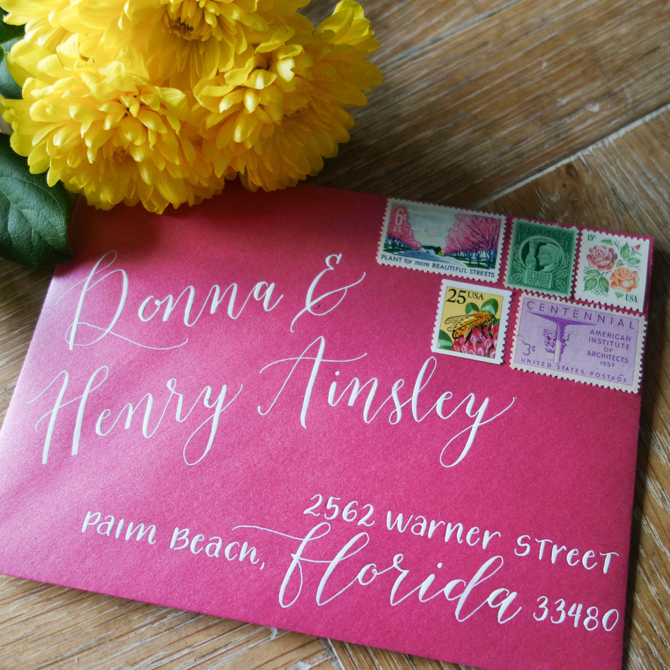 Hot Pink Envelope with White Calligraphy