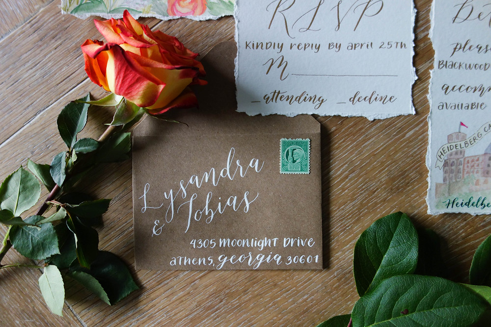 Summer Wedding Invitation Suite RSVP Card & Envelope | P.S. Calligraphy