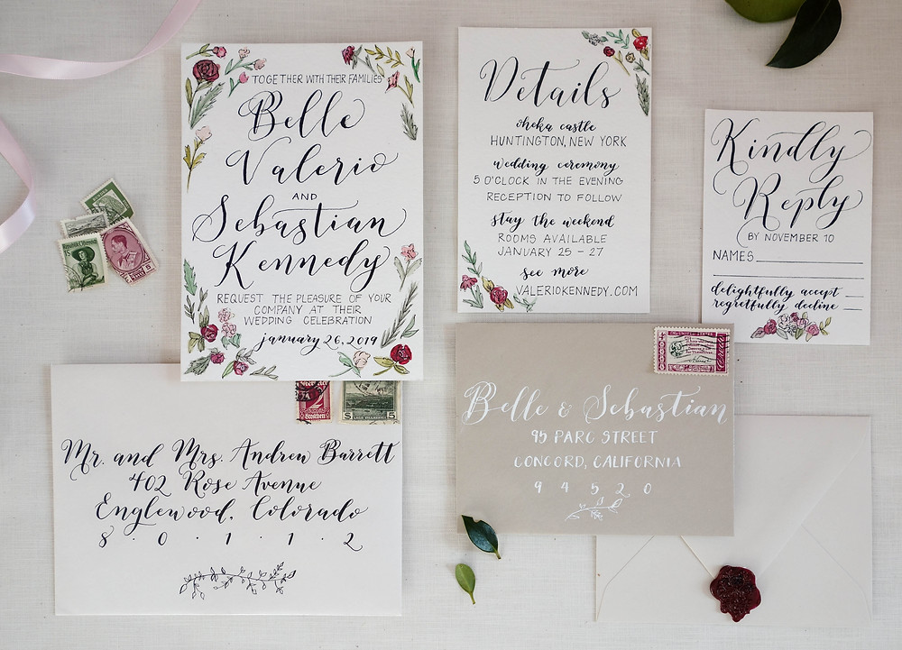 Calligraphy Winter Wedding Invitation Suite