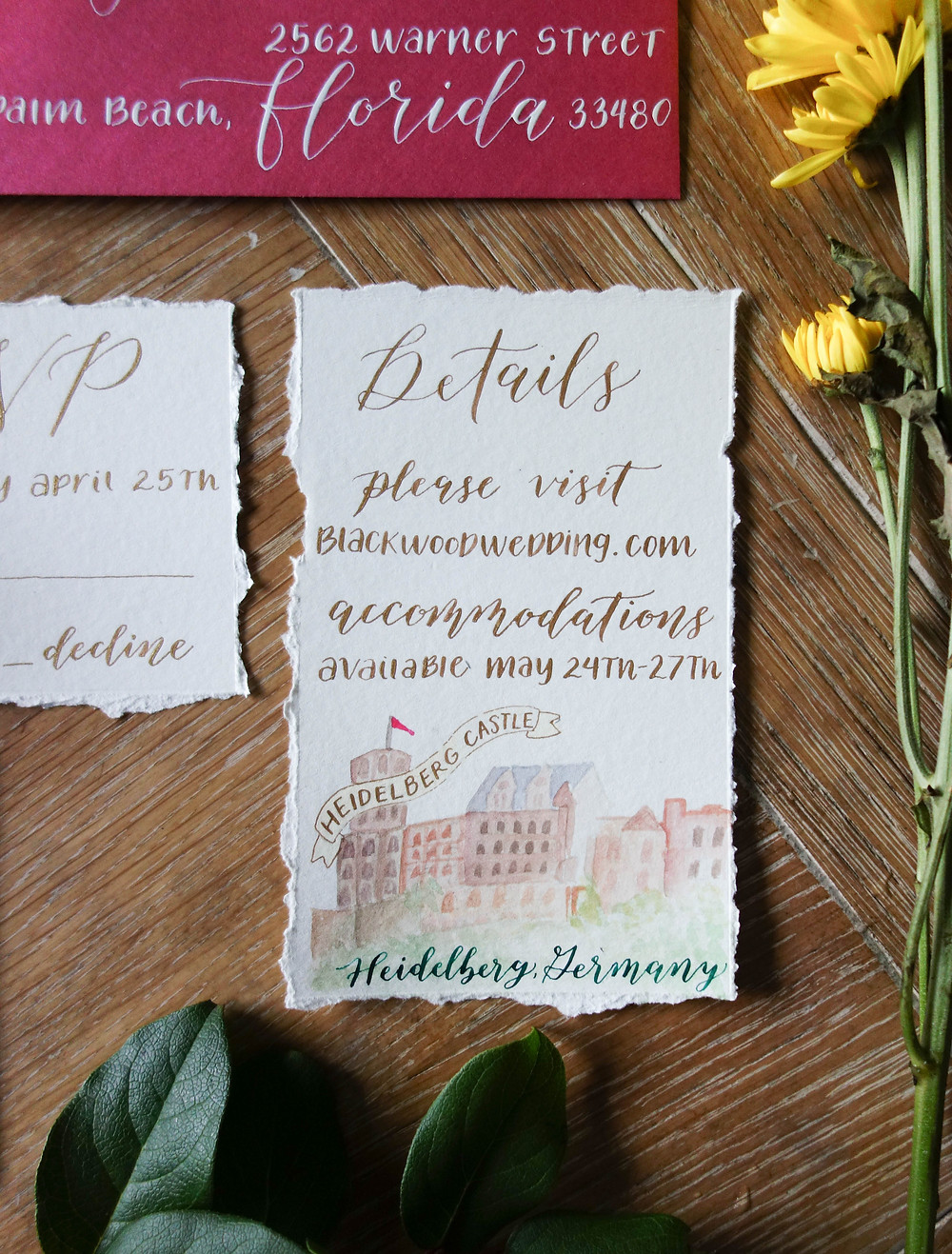 Summer Wedding Invitation Suite Heidelberg Germany | P.S. Calligraphy