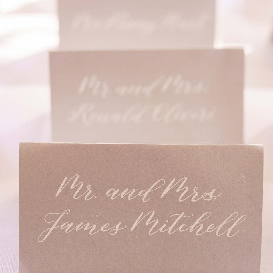 Silver & White Calligraphy Escort Cards