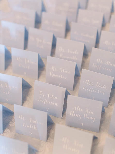 Blue Wedding Calligraphy Escort Cards