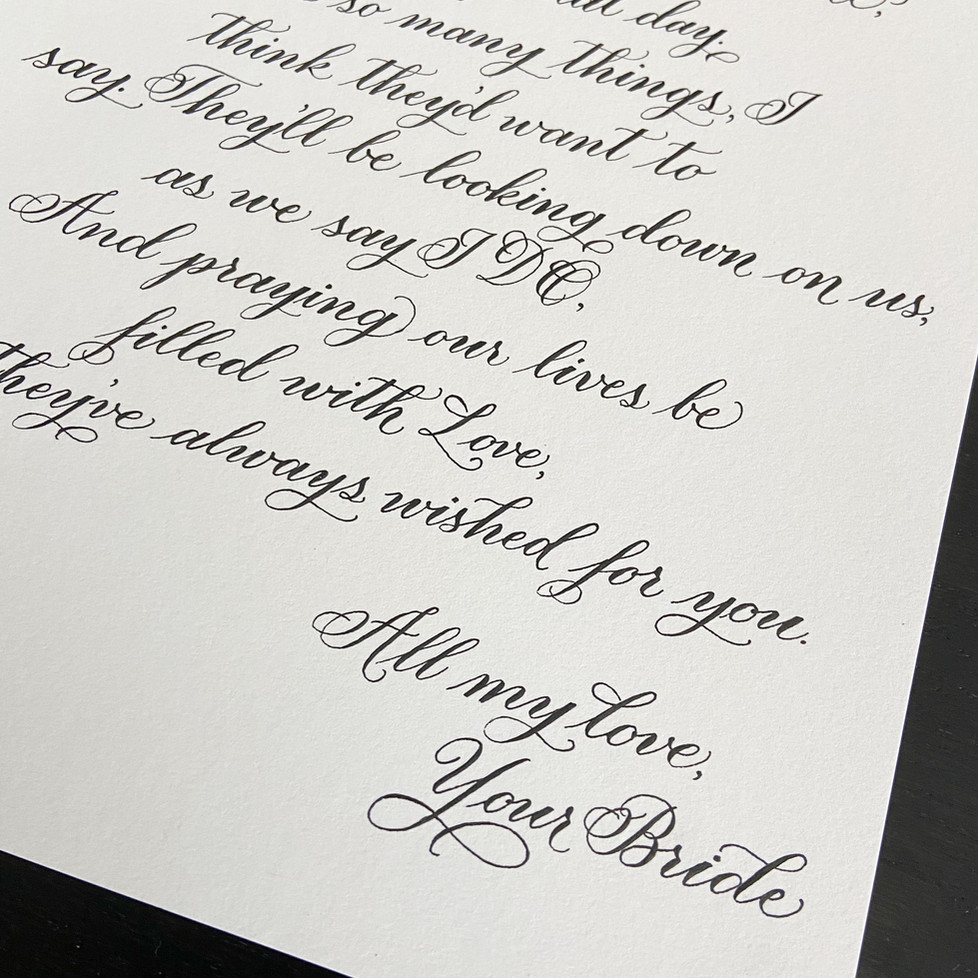 Calligraphy Letter from Bride to Groom