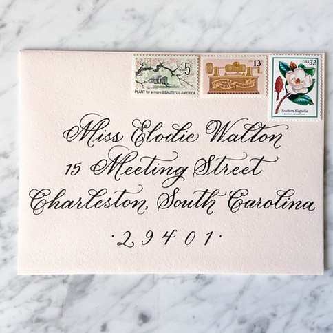 Formal Calligraphy Envelope with vintage stamps