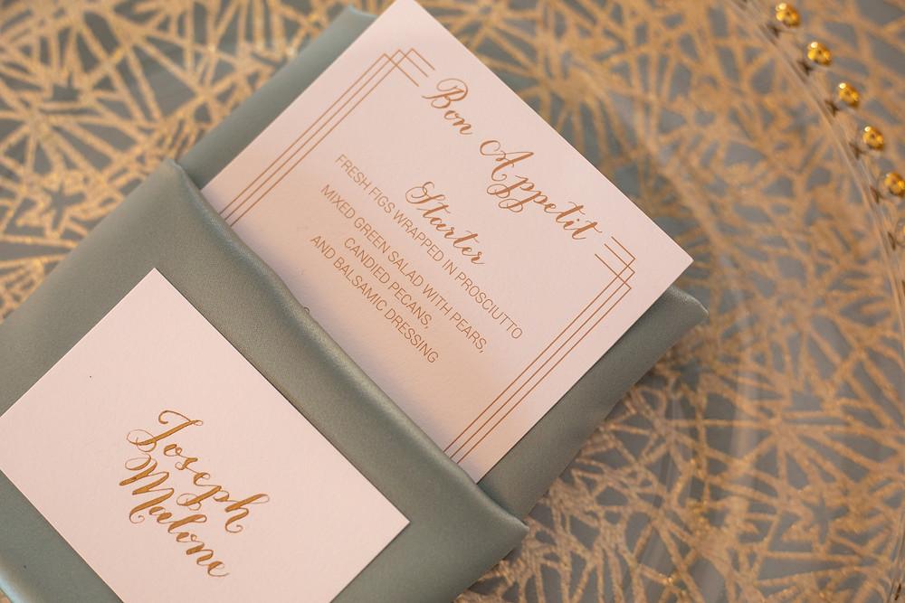 Gatsby Long Island Wedding Calligraphy Menu Card