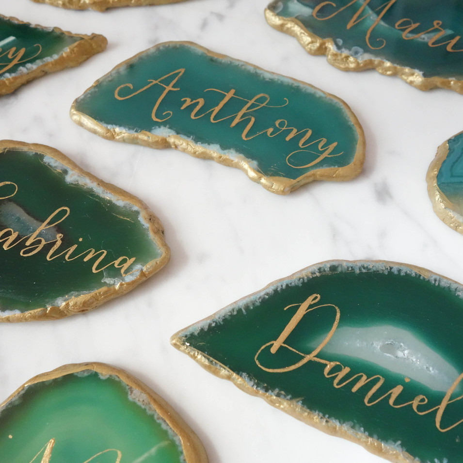 Agate Name Cards in Calligraphy