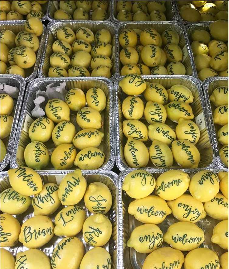 Lemon Place Cards for Wedding