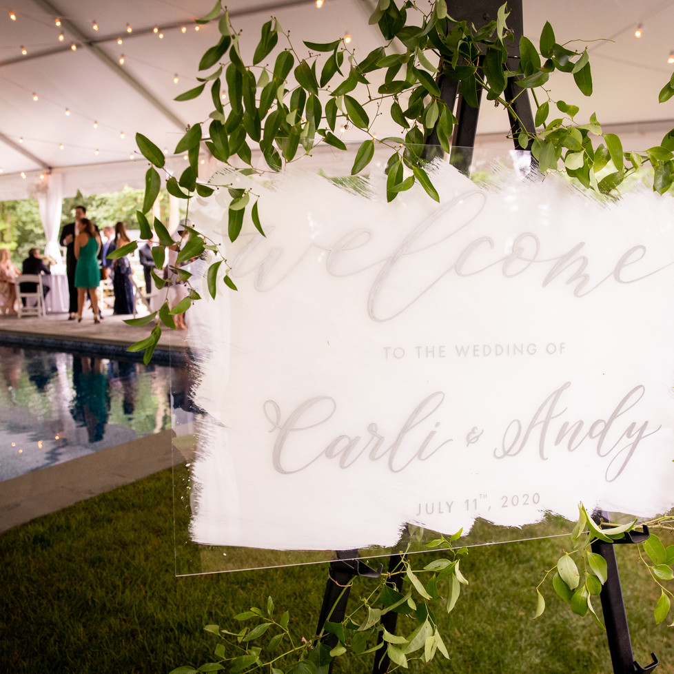 Acrylic Wedding Welcome Sign (white & silver)