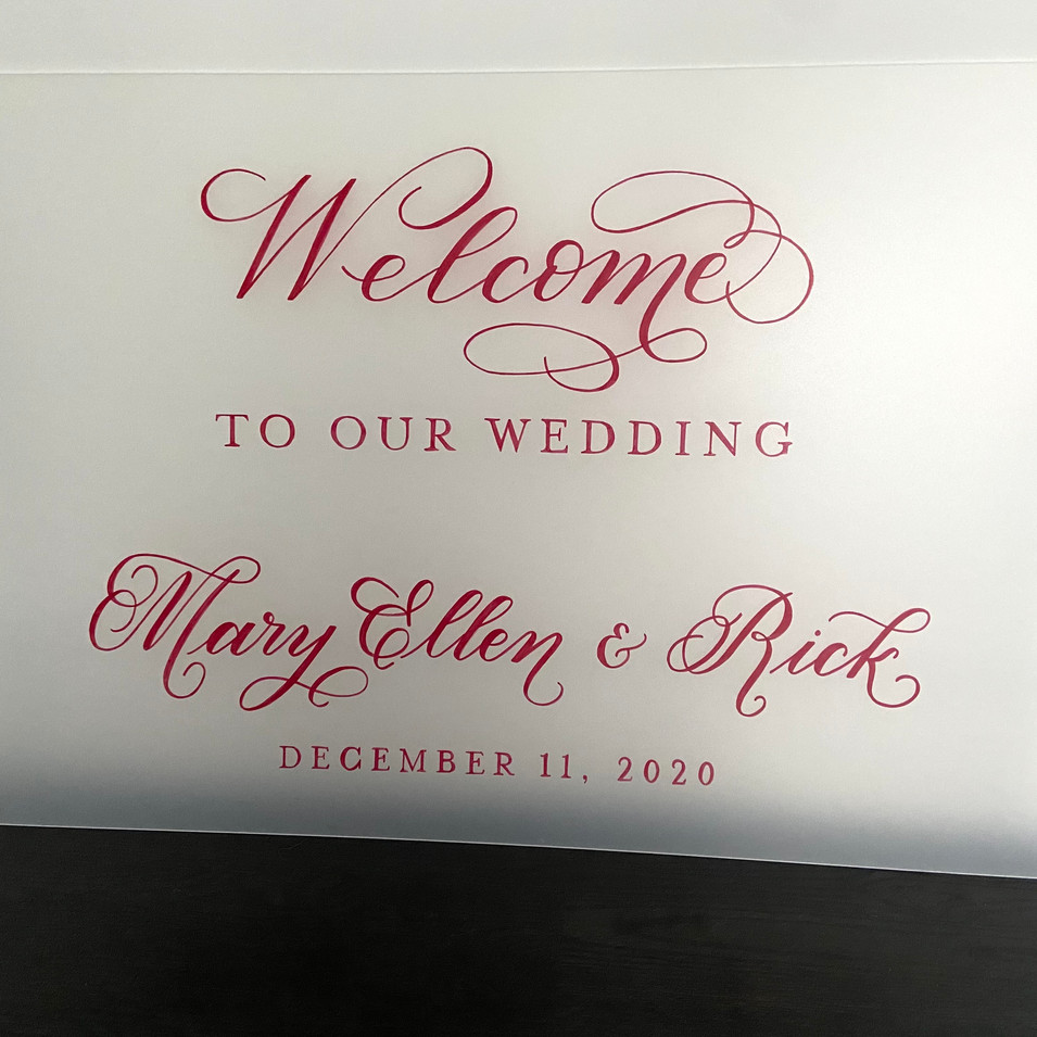 Frosted Acrylic Wedding Welcome Sign with Red Calligraphy