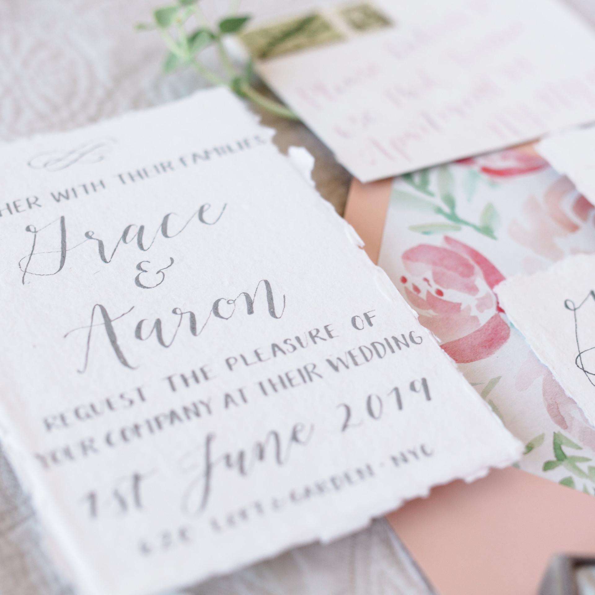 Handwritten Calligraphy Wedding Invitation Suite Blush Pink