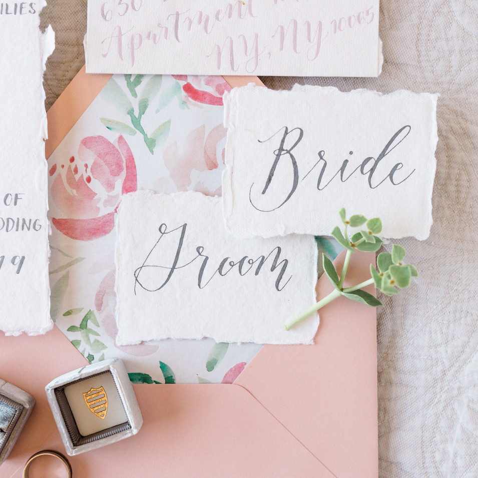 Bride and Groom calligraphy place cards