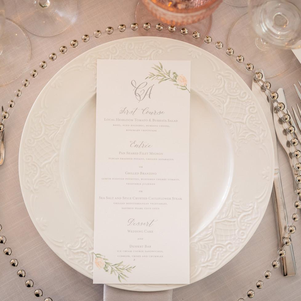 Wedding Menus with handwritten Calligraphy