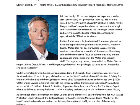 Michael Lamb Appointed to Metro LPSG Advisory Board