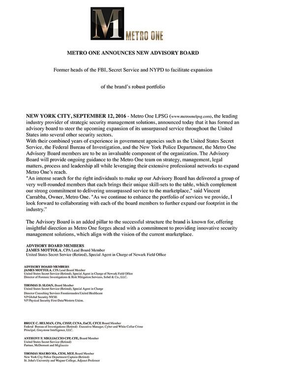 Press Release Announcement of Metro One Advisory Board