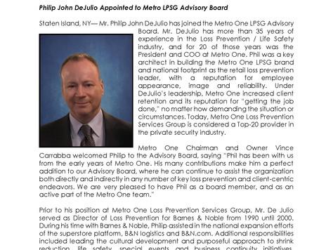 Philip John DeJulio Appointed to Metro LPSG Advisory Board