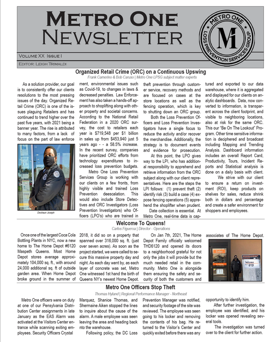 Metro One March 2021 News Letter