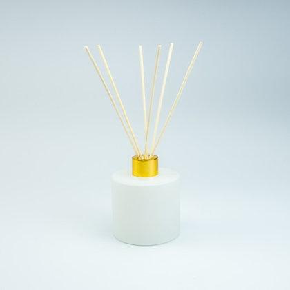 Parfumfles 200 ml wit/goud (met stokjes)
