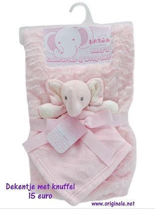 dekentje golfjes roze met olifant
