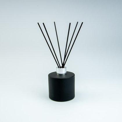 Parfumfles 200 ml zwart/zilver (met stokjes)