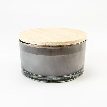Luxe geurkaars grijs houten deksel