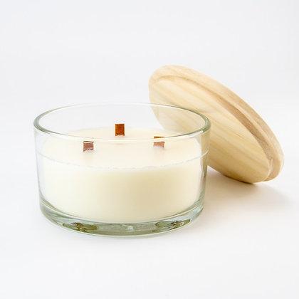 Luxe geurkaars wit houten deksel