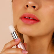 model with lip balm
