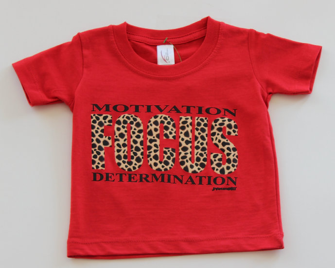 Infant Red Leopard Motivation Focus Tee