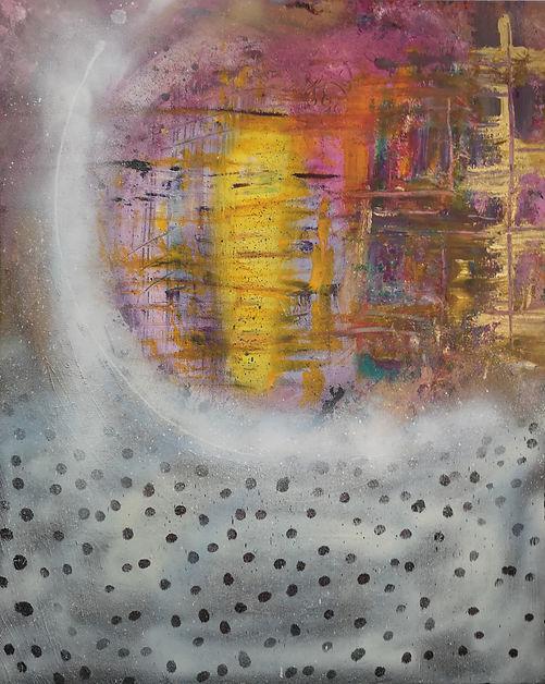 "Nancy Johnson-La Nuée-Acrylic spray/paint on Canvas-24x30x1.5"""