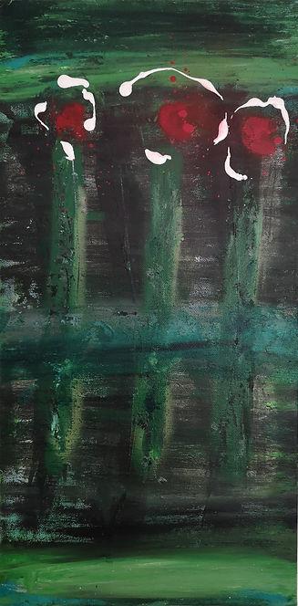 "Nancy Johnson-Red Flowers-Acrylic spray/paint on Canvas-10x20x1.5"""