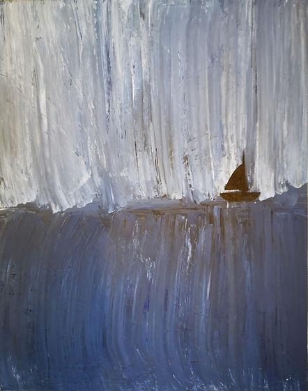 "Prints only_Nancy Johnson-Bateau-Acrylic paint/spray on Canvas-16x20x1.5"""