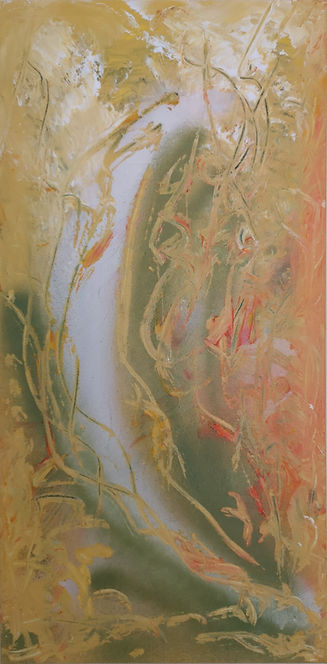 """Nancy Johnson-Autumn-Acrylic spray/paint on Canvas-10x20x1.5"""""""