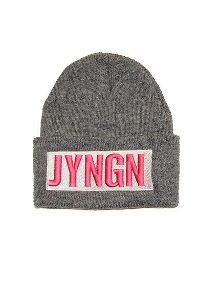 Grey/White/Pink JYNGN Beanie