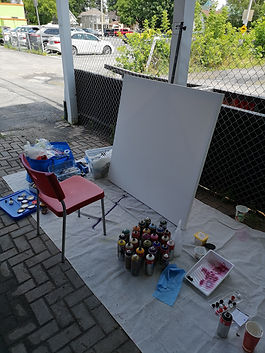 Painting under the carport_Cailuan Gallery_Cornwall, ON