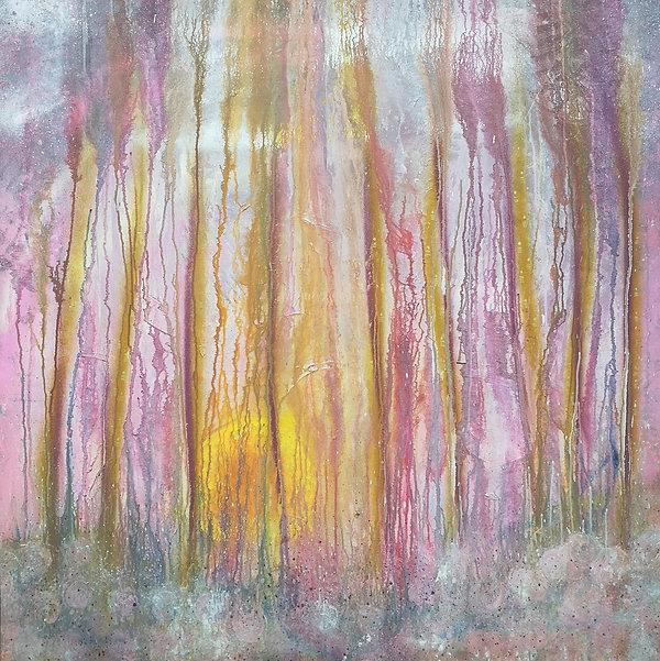 "Nancy Johnson-Forevermore-Acrylic paint/spray on Canvas-48""x48""x1,5"""