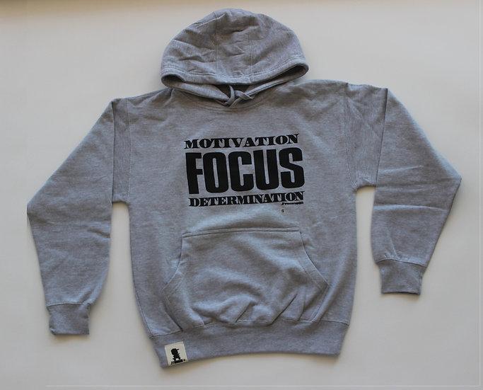 Grey Kids Motivation Focus Determination Hoodie