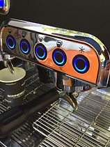 Klassieke VW, koffie, cappuccino met barista op uw beurs