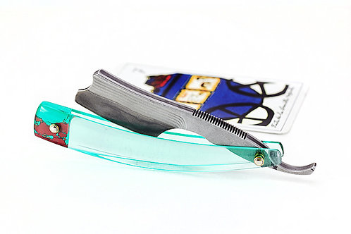 Max Sprecher Razors・Micro Razor・7/8・Barber's Notch・Suminagashi・Aqua Glass・Made in USA