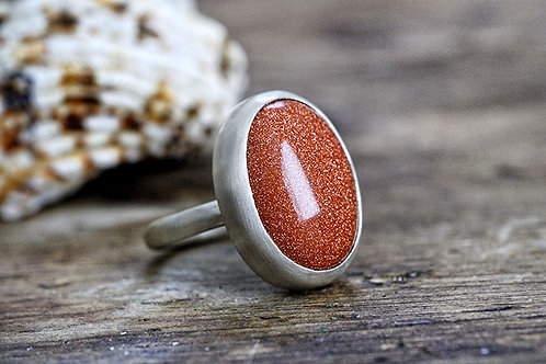Max Sprecher Jewelry - Sparkling Goldstone Silver Ring