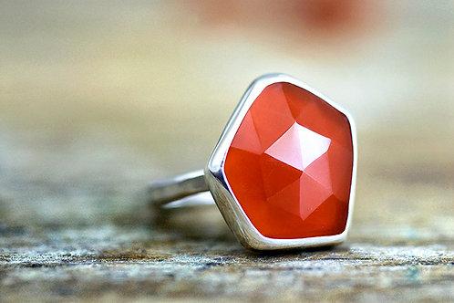 Max Sprecher Jewelry - Carnelian Silver Ring Tavernier Cut
