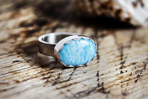 💍 Deep Blue Larimar Sterling Silver Ring