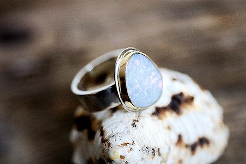 Max Sprecher Jewelry - Australian Opal Doublet Silver Ring w/18K