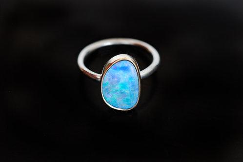 Max Sprecher Jewelry • Australian Opal Doublet 14K Gold & Sterling Silver Ring
